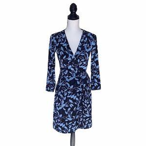 NWT BCBGMAXAZRIA Adele Blue Leaf Print Wrap Dress